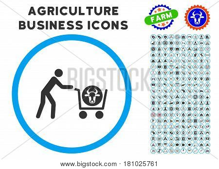 Beef Purchase rounded icon with agriculture commercial glyph set. Vector illustration style is a flat iconic symbol inside a circle, blue and gray colors. Designed for web and software interfaces.