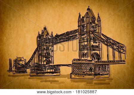 Free Hand Sketch Collection: Bridge Tower, London, England On Old Paper Texture