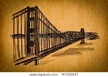 Free Hand Sketch Collection: Golden Gate Bridge, San Francisco, Usa On Old Paper Texture