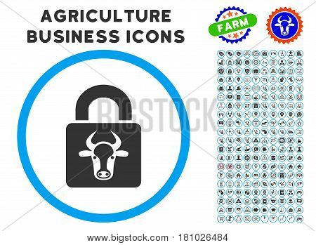 Bull Lock rounded icon with agriculture business pictogram kit. Vector illustration style is a flat iconic symbol inside a circle, blue and gray colors. Designed for web and software interfaces.