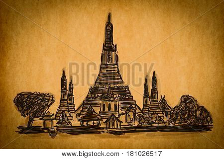Free Hand Sketch Collection: Wat Arun Temple In Bangkok, Thailand On Old Paper Texture