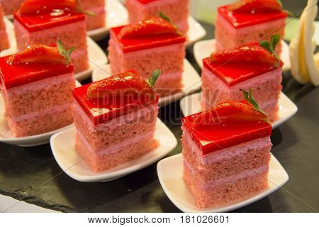 Mini strawberry cake delicious and beautiful on black plate