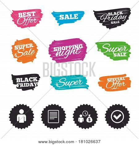 Ink brush sale banners and stripes. Bank loans icons. Cash money bag symbol. Apply for credit sign. Check or Tick mark. Special offer. Ink stroke. Vector
