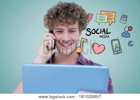Digital composite of Smiling man using tablet PC and smart phone with social media icons in background