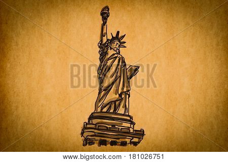 Free Hand Sketch Collection: Statue Of Liberty, New York, Usa On Old Paper Texture