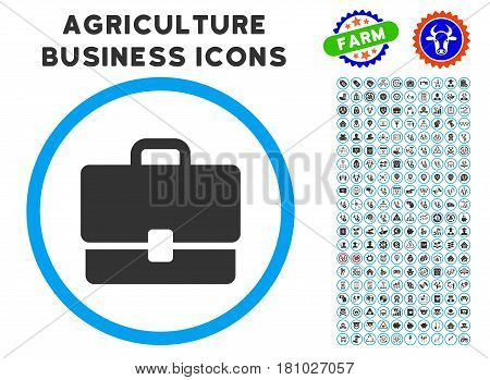 Case rounded icon with agriculture commercial glyph set. Vector illustration style is a flat iconic symbol inside a circle, blue and gray colors. Designed for web and software interfaces.