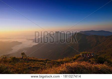 Sunrise scene at Phu chi fa in ChiangraiThailand