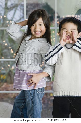 Mixed Race siblings acting silly