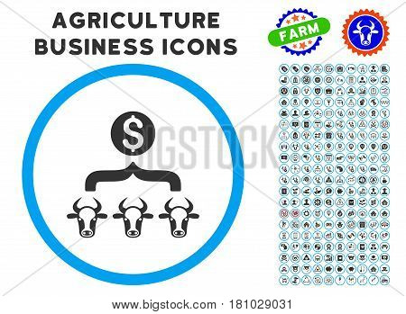Cattle Result Money rounded icon with agriculture commercial glyph kit. Vector illustration style is a flat iconic symbol inside a circle, blue and gray colors.