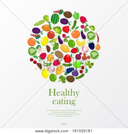 White background with different fruit and vegetables and sample text