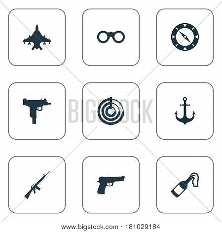 Vector Illustration Set Of Simple Battle Icons. Elements Firearm, Field Glasses, Radio Locator And Other Synonyms Fighter, Compass And Radar.