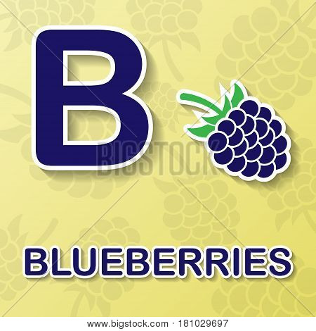 Blueberry symbol with letter B and text