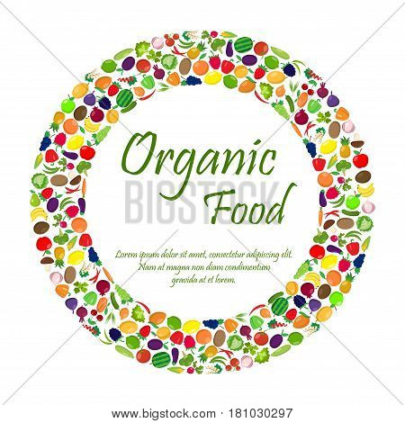 Fruit and vegetables in circle shape with sample text