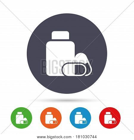 Medical pills bottle sign icon. Pharmacy medicine drugs symbol. Round colourful buttons with flat icons. Vector