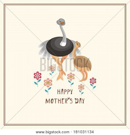 Happy Mother's day greeting card in cartoon style with the image of cute animals and their cubs.