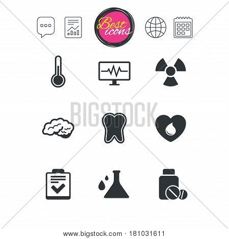 Chat speech bubble, report and calendar signs. Medicine, medical health and diagnosis icons. Blood donate, thermometer and pills signs. Tooth, neurology symbols. Classic simple flat web icons. Vector