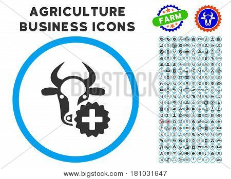 Cow Create rounded icon with agriculture business glyph clipart. Vector illustration style is a flat iconic symbol inside a circle, blue and gray colors. Designed for web and software interfaces.