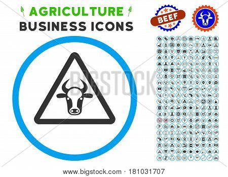 Cow Danger rounded icon with agriculture commercial icon kit. Vector illustration style is a flat iconic symbol inside a circle, blue and gray colors. Designed for web and software interfaces.