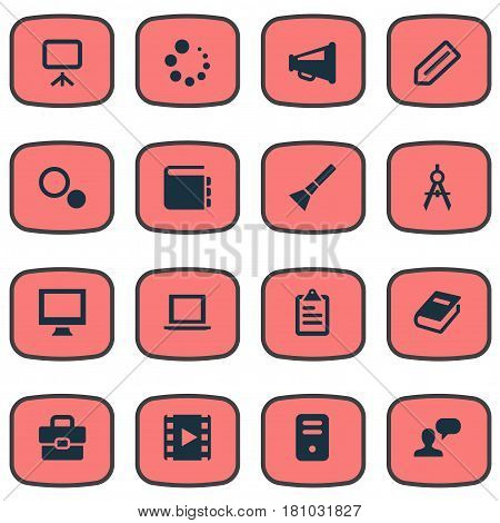 Vector Illustration Set Of Simple Design Icons. Elements Laptop, Bullhorn, Circle Compass And Other Synonyms Tools, Flashlight And Appliance.