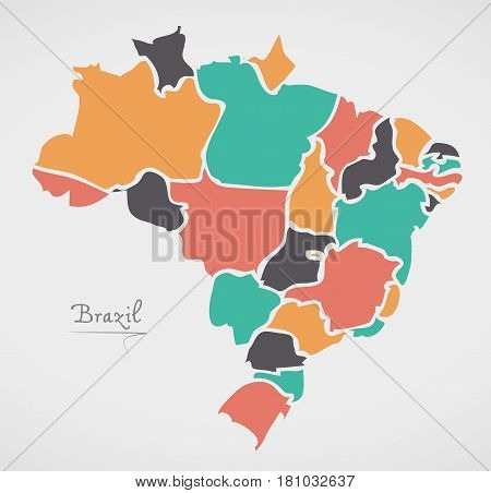Brazil Map with modern round shapes illustration artwork