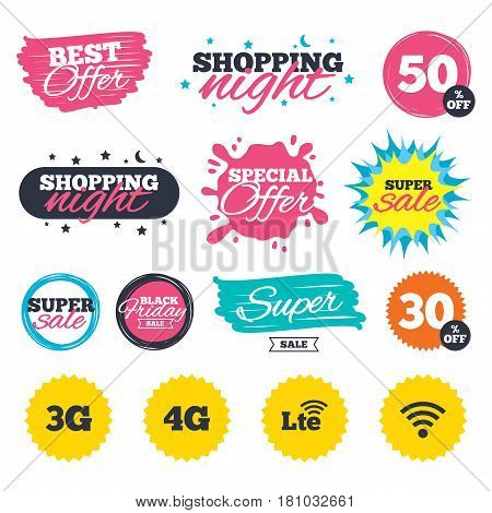 Sale shopping banners. Special offer splash. Mobile telecommunications icons. 3G, 4G and LTE technology symbols. Wi-fi Wireless and Long-Term evolution signs. Web badges and stickers. Best offer