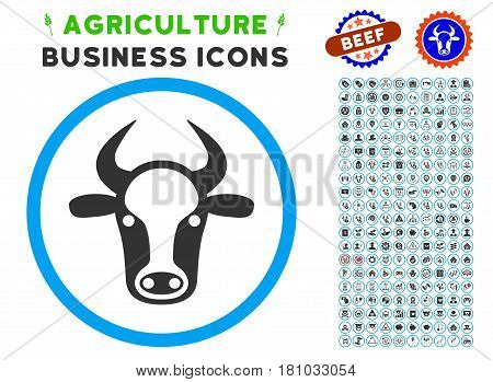Cow Head rounded icon with agriculture commercial glyph clip art. Vector illustration style is a flat iconic symbol inside a circle, blue and gray colors. Designed for web and software interfaces.