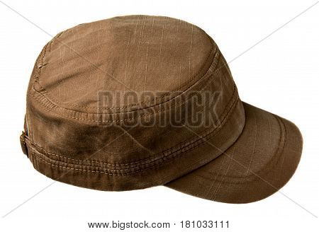 Hat Isolated On White Background. Hat With A Visor .brown Hat