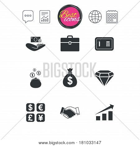 Chat speech bubble, report and calendar signs. Money, cash and finance icons. Handshake, safe and currency exchange signs. Chart, case and jewelry symbols. Classic simple flat web icons. Vector