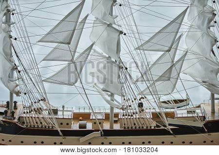 Close-up of a Antique Model Sailing Ship isolated with clipping path