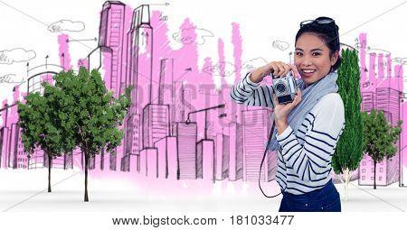 Digital composite of Digital composite image of woman holding camera against buildings