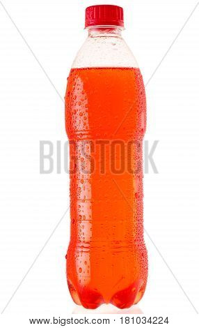 Bottle Of Red Soda Isolated On White Background
