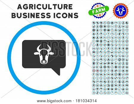 Cow Message rounded icon with agriculture commercial glyph collection. Vector illustration style is a flat iconic symbol inside a circle, blue and gray colors.