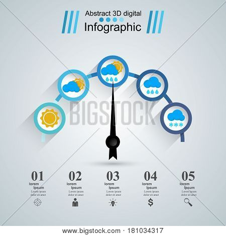 Infographic design template and marketing icons. Speedometer icon. Arrow icon.