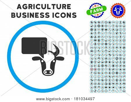 Cow Opinion rounded icon with agriculture business pictogram package. Vector illustration style is a flat iconic symbol inside a circle, blue and gray colors. Designed for web and software interfaces.