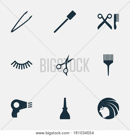 Vector Illustration Set Of Simple Spa Icons. Elements Scissors, Mascara, Barbershop And Other Synonyms Shears, Barbershop And Beautiful.
