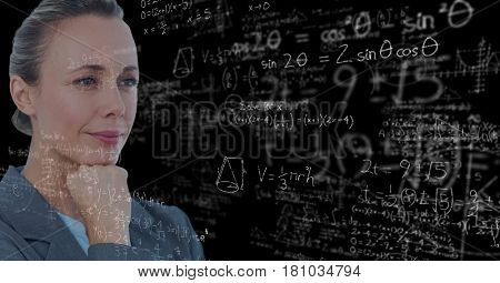 Digital composite of Digital composite image of thoughtful businesswoman with math equations on blackboard