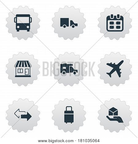 Vector Illustration Set Of Simple Carting Icons. Elements Mall, Van, Airline And Other Synonyms Airline, Opposite And Message.