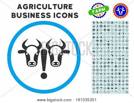 Cow Problem rounded icon with agriculture commercial icon pack. Vector illustration style is a flat iconic symbol inside a circle, blue and gray colors. Designed for web and software interfaces.