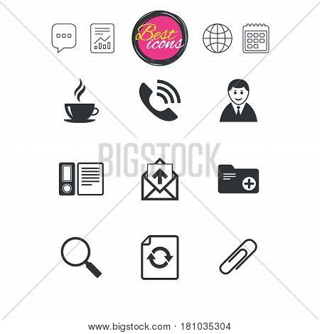 Chat speech bubble, report and calendar signs. Office, documents and business icons. Coffee, phone call and businessman signs. Safety pin, magnifier and mail symbols. Classic simple flat web icons