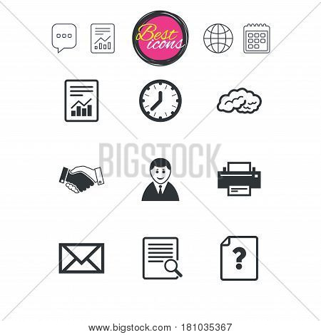 Chat speech bubble, report and calendar signs. Office, documents and business icons. Deal, mail and businessman signs. Report, magnifier and brain symbols. Classic simple flat web icons. Vector