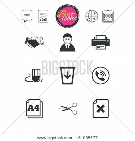 Chat speech bubble, report and calendar signs. Office, documents and business icons. Printer, handshake and phone signs. Boss, recycle bin and eraser symbols. Classic simple flat web icons. Vector