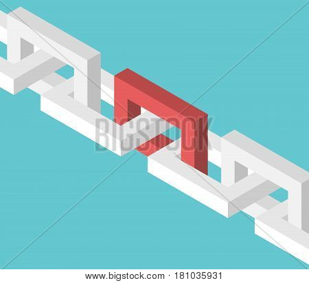 Isometric Red Chain Link