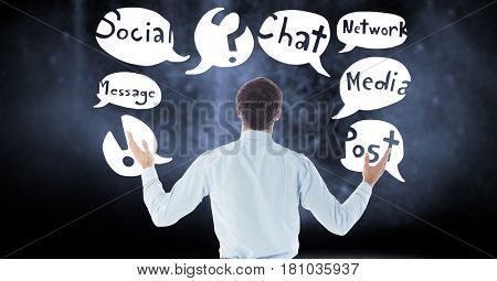 Digital composite of Rear view of businessman with text in chat bubbles