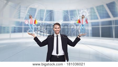 Digital composite of Digital composite image of businessman carrying woman with shopping bags