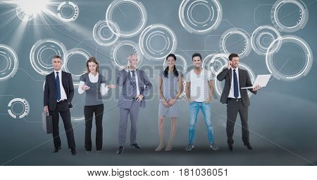 Digital composite of Digital composite image of business people on abstract background