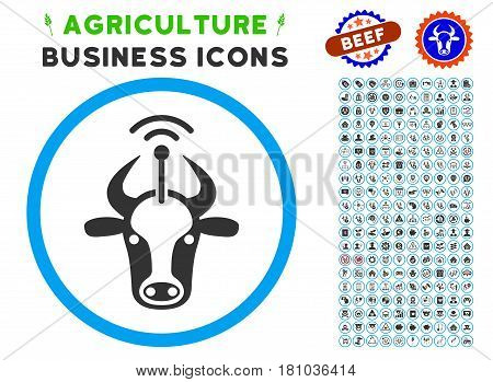 Cow Radio Transmitter rounded icon with agriculture commercial icon package. Vector illustration style is a flat iconic symbol inside a circle, blue and gray colors.