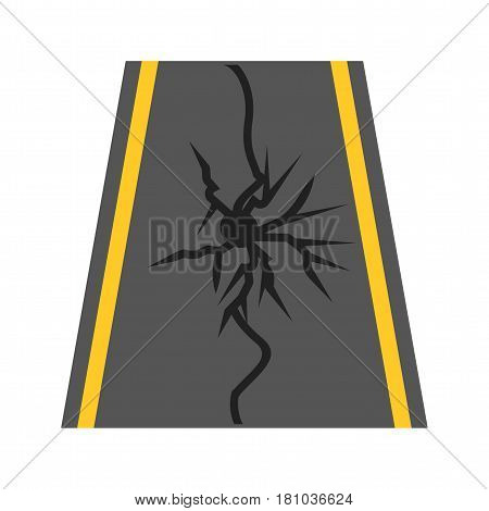 Earthquake, damage, road icon vector image. Can also be used for disasters. Suitable for mobile apps, web apps and print media.