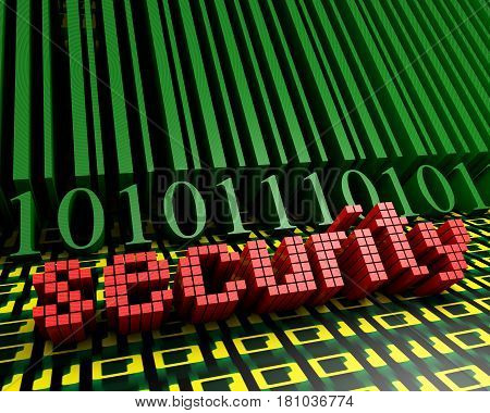 Barcode and the word security on the background of the numbers one and zero leaving in perspective. 3d illustration