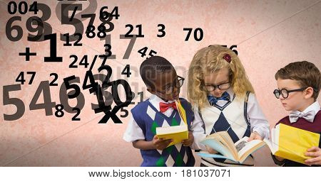 Digital composite of Digitally generated image of students studying while number fyling against beige background