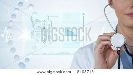 Digital composite of Digital composite image of female doctor with stethoscope by diagrams and graphs in background